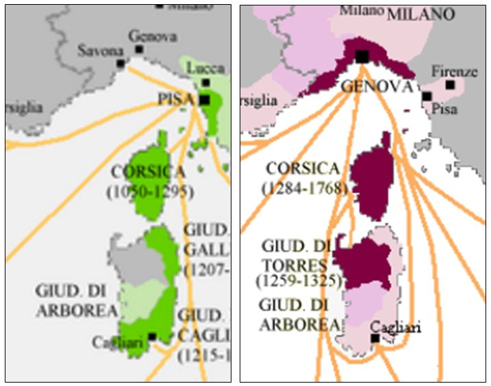 Pisa und Genua auf Korsika und Sardinien