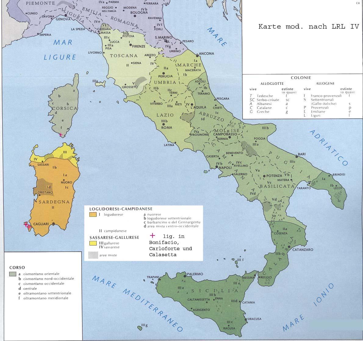 Korsika, Sardinien und die Visualisierung der ital. Dialekte nach LRL IV