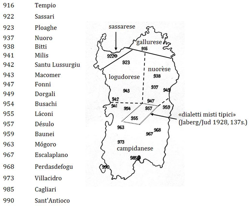 Das Netz der sardischen Erhebungsorte des AIS und die Dialektareale
