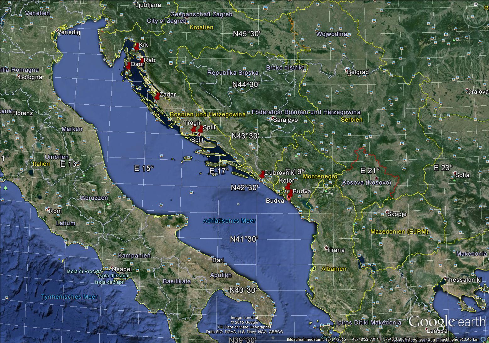 Letzte Verbreitung des Dalmatisch nach Muljacic (2000, 195)
