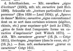 """FEW, 2: 623, Stichwort """"caractère""""."""