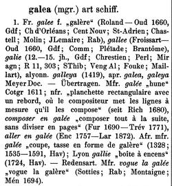 "FEW, 4: 27, Stichwort ""galée"""