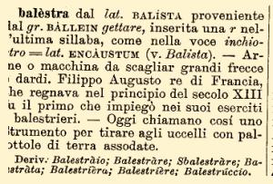 "DELI, Stichwort ""balestra""."