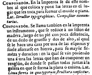 """Autoridades (1729), Stichwort """"componedor""""."""