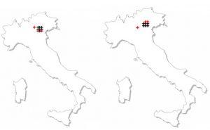 Abbildung 15: links: Verortungen des Stimulus Sp04_23m durch die autoperzeptive Informantengruppe. Rechts: Verortungen des Stimulus Sp05_21m durch die autoperzeptive Informantengruppe.