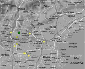 Abbildung 20 Verortungen des Stimulus Sp05_21m der heteroperzeptiven Informantengruppe Damiano Heteroperzeption Veneto