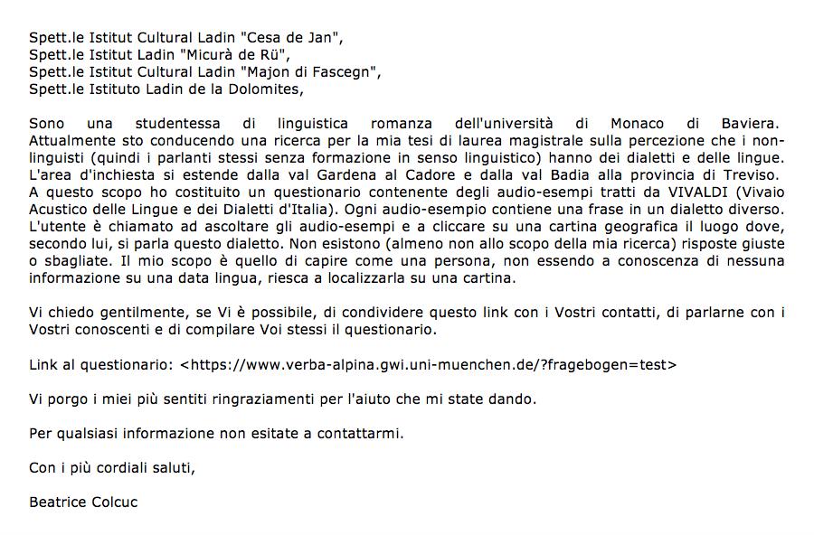 Il testo della e-mail inviato dall'autrice per la raccolta dei dati.